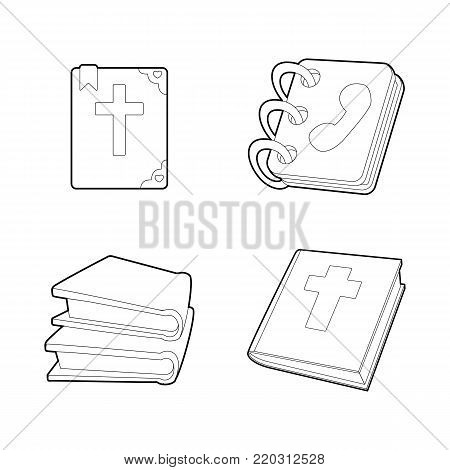 Book icon set. Outline set of book vector icons for web design isolated on white background