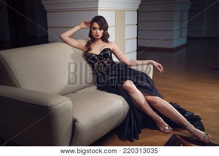 Portrait Of Gorgeous Woman In The Dress