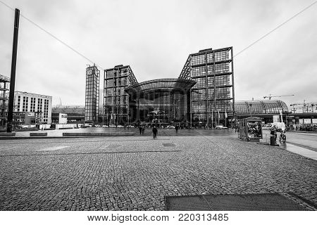 BERLIN - DECEMBER 21, 2017: Berlin Central Station. The central station of Berlin - the largest and modern railway station of Europe. Black and white.