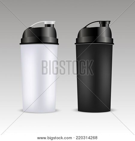 Mockup plastic sport nutrition Drink Bottle. Whey Protein and Gainer. Vector Illustration