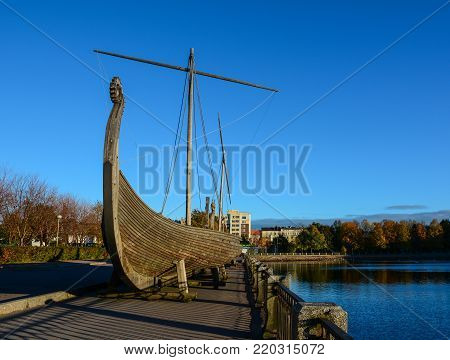 Vyborg, Russia - Oct 5, 2016. A Drakkar (Viking wooden boat) on the waterfront in Vyborg, Russia. Vyborg is 174km northwest of St Petersburg, and just 30km from the Finnish border.