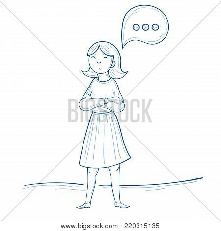 Woman stand with comment icon, speech bubble icon with three dots, vector illustration. Hand drawn cartoon style vector illustration