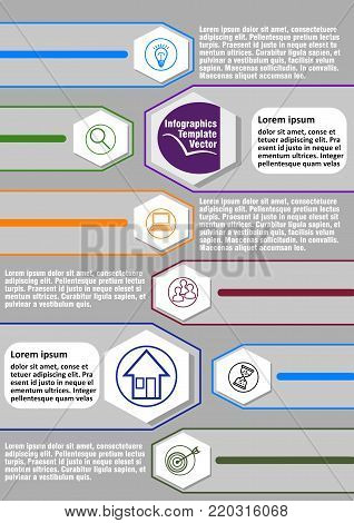 Infographic process visualization template with hexagonal graphic, abstract vector with icons and copy space, two main elements and six minor graphic elements available, vector EPS10