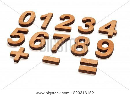 Wooden Numerals 0-9 On White