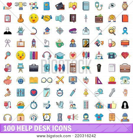 100 help desk icons set. Cartoon illustration of 100 help desk vector icons isolated on white background