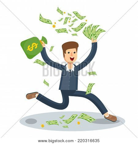 Happy joyful businessman is happy under the money rain. Success in business, lottery, lucky fortune and wealth. Flat vector cartoon illustration. Objects isolated on white background.
