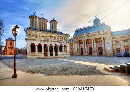 Famous religious Patriarchal church of Bucharest, spiritual edifice of Christian Orthodox comunity considered as the most beautiful cathedral of Romania, in Eastern Europe