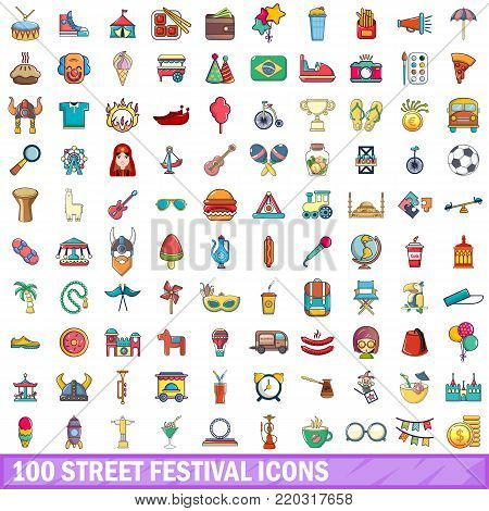 100 street festival icons set. Cartoon illustration of 100 street festival vector icons isolated on white background