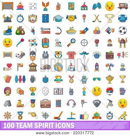 100 team spirit icons set. Cartoon illustration of 100 team spirit vector icons isolated on white background