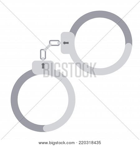 Handcuffs for detaining criminals. Outfit of a policeman. isolated on white background, flat style Vector illustration