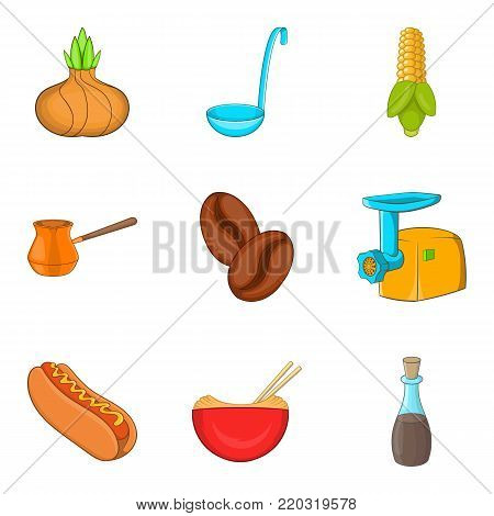 Make a breakfast icons set. Cartoon set of 9 make a breakfast vector icons for web isolated on white background