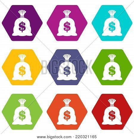 Money bag with US dollar sign icon set many color hexahedron isolated on white vector illustration