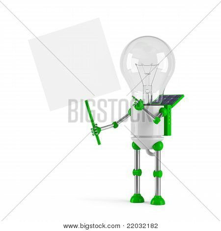 Solar Powered Light Bulb Robot - Blank Placard