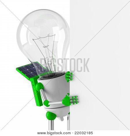 Solar Powered Light Bulb Robot - Blank Billboard