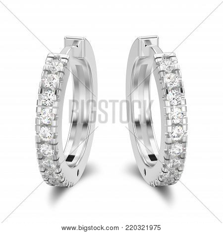 3D illustration isolated white gold or silver decorative diamond earrings hinged lock with shadow on a white background