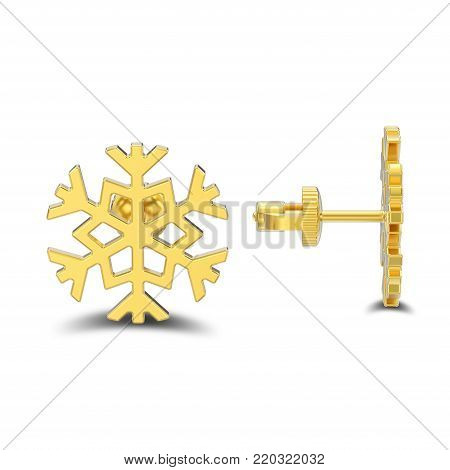 3D illustration isolated yellow gold snowflake stud earrings with shadow on a white background