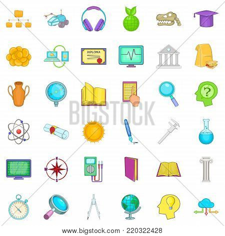 Student icons set. Cartoon style of 36 student vector icons for web isolated on white background
