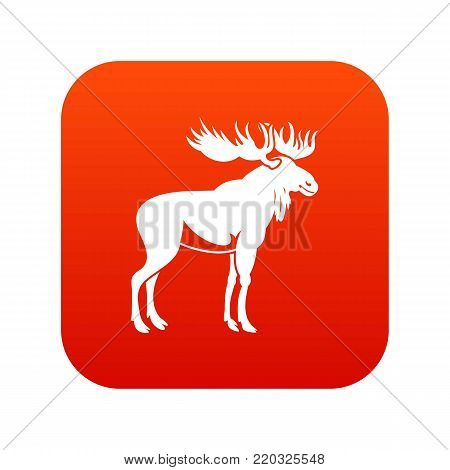 Moose icon digital red for any design isolated on white vector illustration