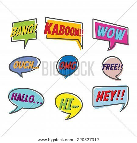Comic style bubble speech cartoon set isolated on white background vector illustration. Pop art bubble specch of bang, kaboom, wow, ouch, OMG, free, hallo, hi, hey