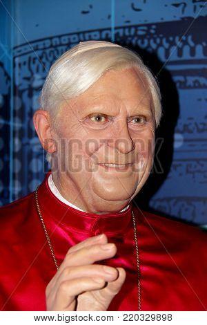 London, - United Kingdom, 08, July 2014. Madame Tussauds in London. Waxwork statue of Pope Benedict XVI.