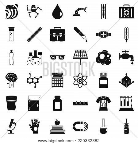 Biology icons set. Simple style of 36 biology vector icons for web isolated on white background