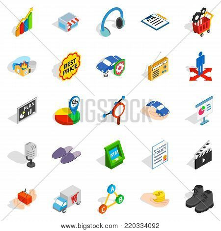 Audience icons set. Isometric set of 25 audience vector icons for web isolated on white background