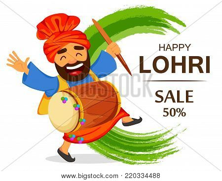 Popular winter Punjabi folk festival Lohri. Funny dancing Sikh man with drum celebrating holiday, cartoon character for sale, banner, poster. Vector illustration on abstract background