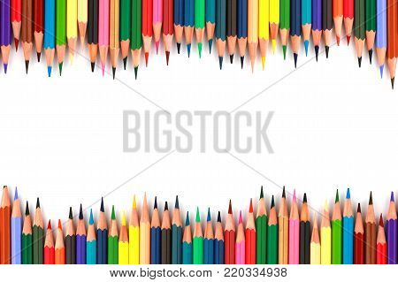 Close Up Of Group Color Pencils Or Crayon Set Isolated On White Background. Pencil Colors On White B