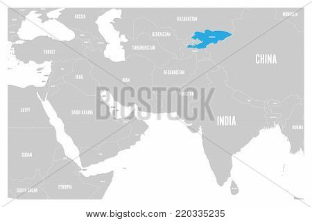 Kyrgyzstan blue marked in political map of South Asia and Middle East. Simple flat vector map..