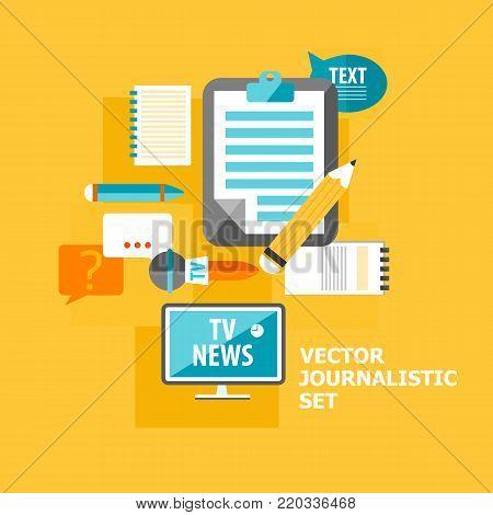 Reporter flat elements set with different correspondent equipment on light orange background vector illustration
