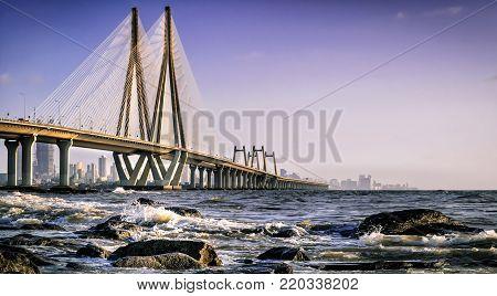 Bandra Worli Sealink bridge in Mumbai, India