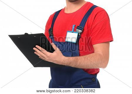 Auto mechanic with clipboard on white background, closeup