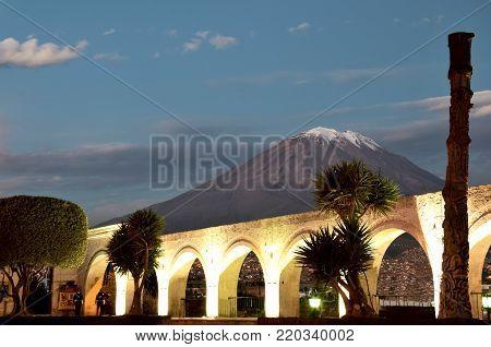 Arequipa, Peru April 2017 View of Volcano Misti from Yanahuara