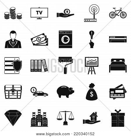 Responsibility icons set. Simple set of 25 responsibility vector icons for web isolated on white background