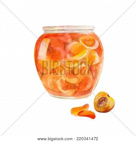 Peach jam in the jar. Apricots cut in sweet syrup. Watercolor illustration isolated on white