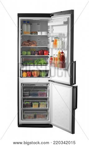Open refrigerator full of food on white background