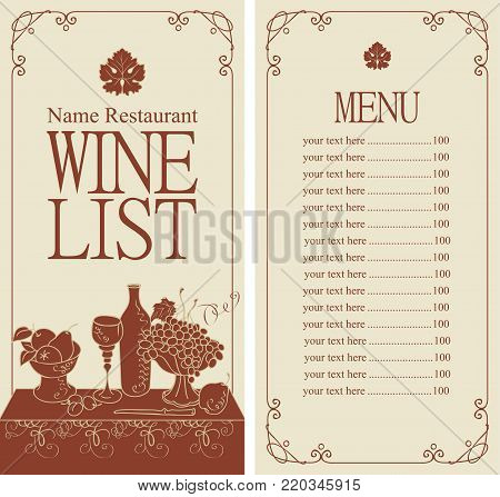 Vector wine list for restaurant or cafe menu with price list and still life with a glass of wine and a bowl of grapes and fruit in curly frame in retro style.