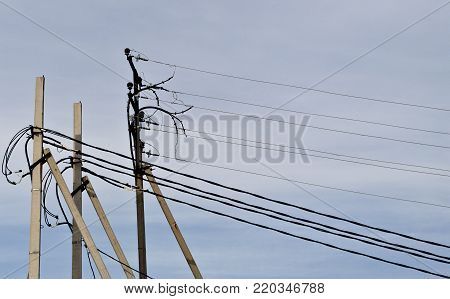 High voltage poles. Power line. Power line background.