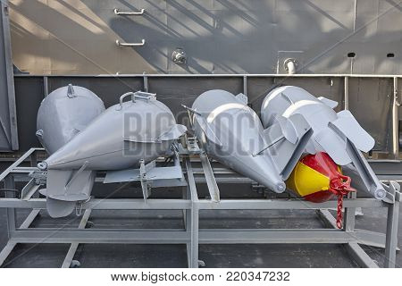 Depths bombs on a destroyer vessel. Old army equipment. Horizontal