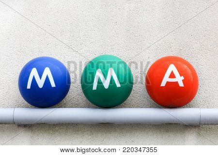 Grenoble, France - June 25, 2017: MMA logo on a wall. MMA is a French mutual insurance group headquartered in Le Mans, France