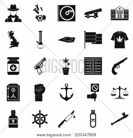 Crime investigation icons set. Simple set of 25 crime investigation vector icons for web isolated on white background