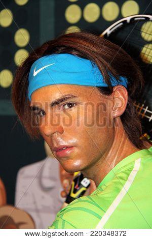 London, - United Kingdom, 08, July 2014. Madame Tussauds in London. Waxwork statue of Rafael Nadal