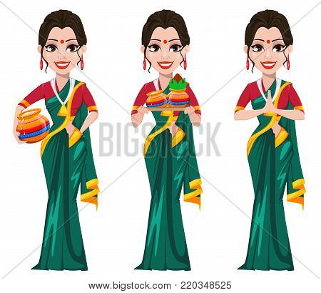 Indian girl standing with pots and with folded hands.Set. Happy Pongal greeting card. Makar sankranti. Vector illustration on white background.