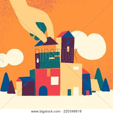 Building urban, little town under construction. City, house, town vector illustration