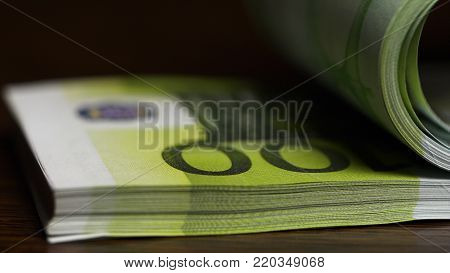 Counting Paper Money One Hundred Euro. One Hundred Euro, Macro. Flipping One Hundred Euro Banknotes