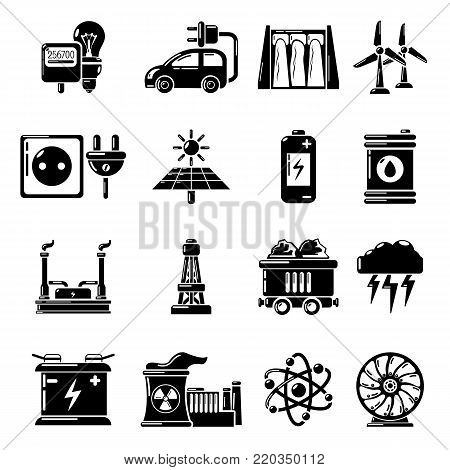 Energy sources icons set. Simple illustration of 16 energy sources vector icons for web