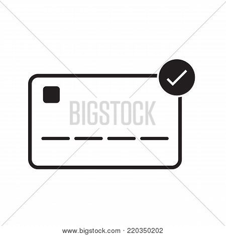 Credit card icon accepted concept vector illustration line