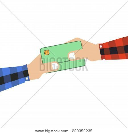 Credit card icon hand holding concept vector illustration line