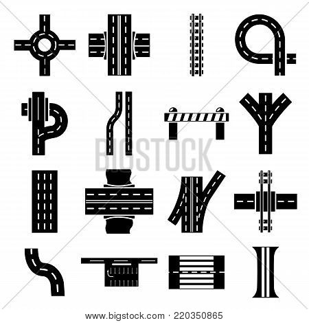 Road parts constructor icons set. Simple illustration of 16 road parts constructor module vector icons for web