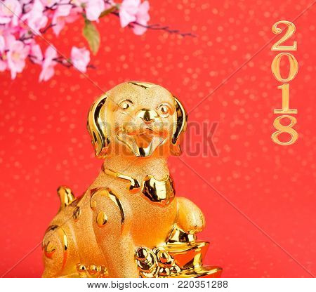 Chinese new year decoration:golden dog statue and gold ingots poster